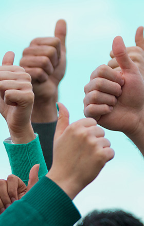 Group of hands with thumbs up